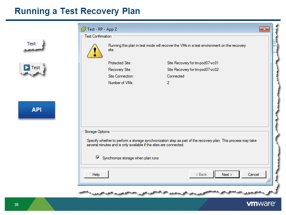 38 Running a Test Recovery Plan API