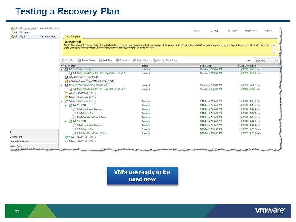 41 Testing a Recovery Plan VM's are ready to be used now