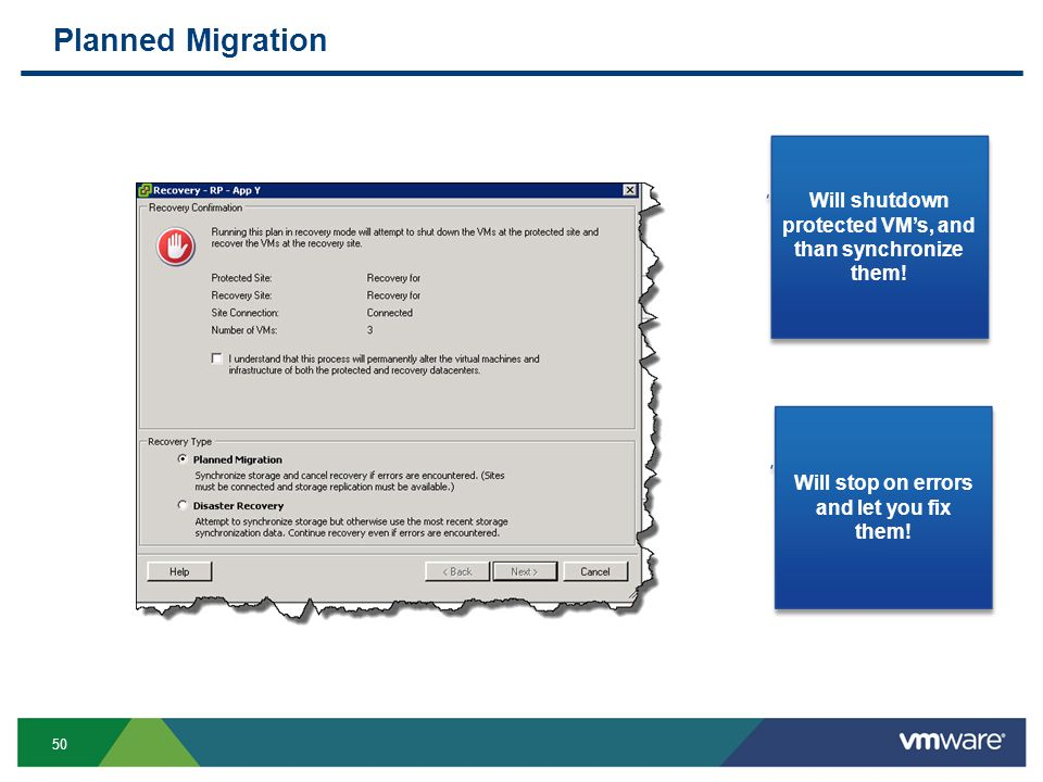 50 Planned Migration Will shutdown protected VM's, and than synchronize them.