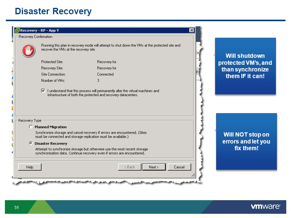 51 Disaster Recovery Will shutdown protected VM's, and than synchronize them IF it can.