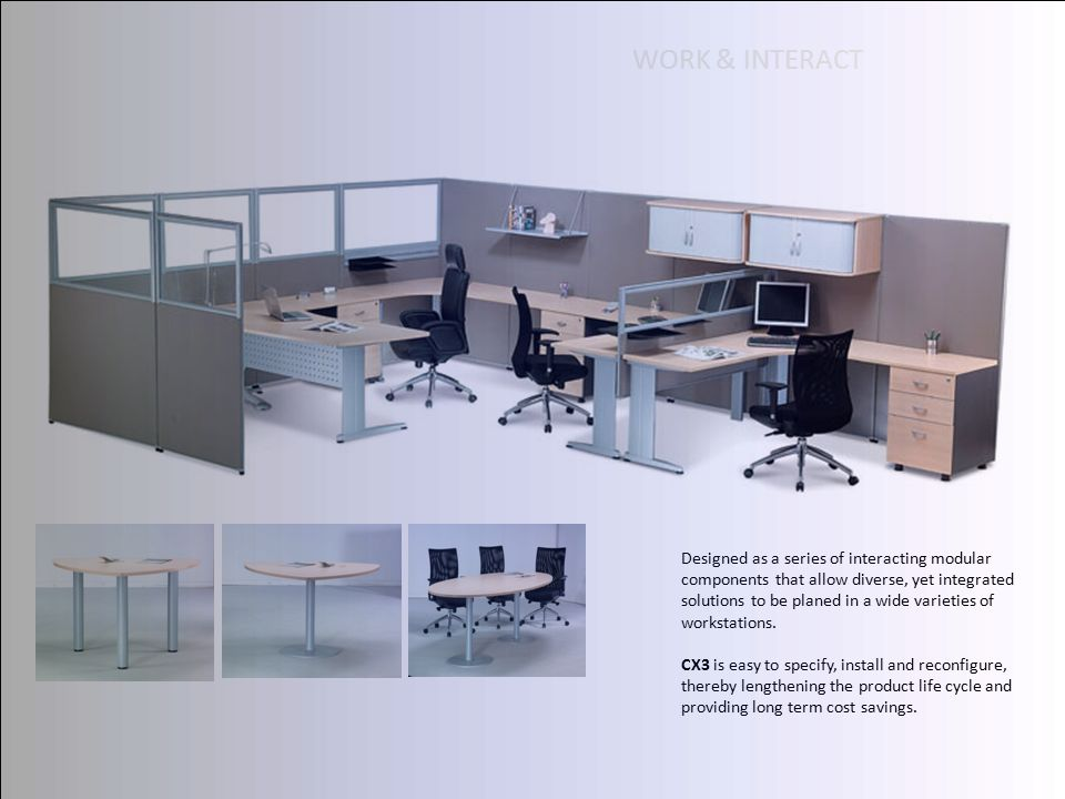 Designed as a series of interacting modular components that allow diverse, yet integrated solutions to be planed in a wide varieties of workstations.