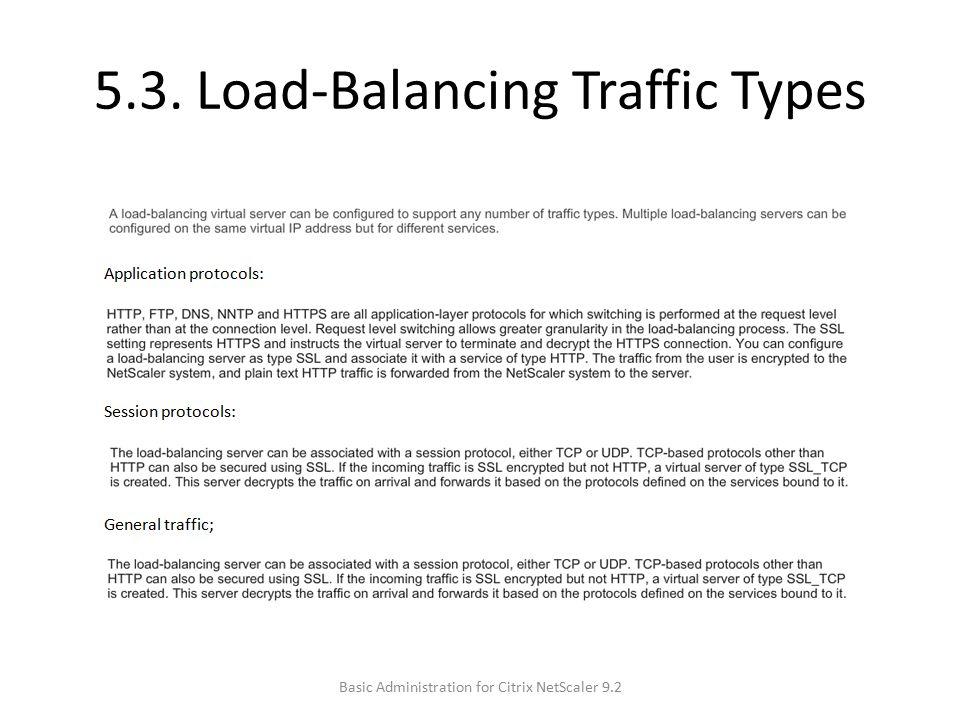 5.3. Load-Balancing Traffic Types Basic Administration for Citrix NetScaler 9.2