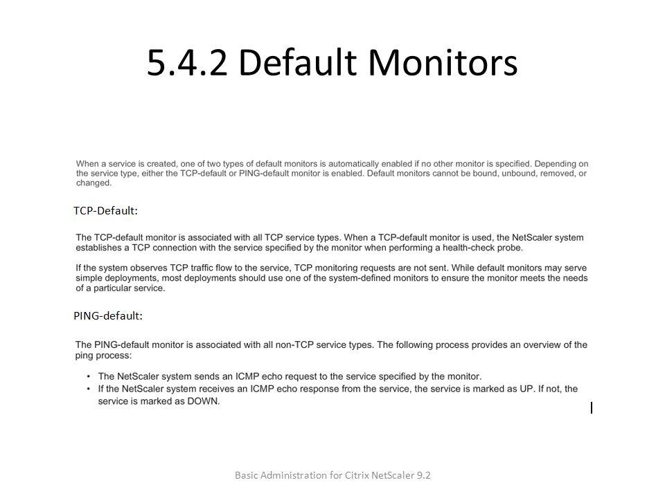 5.4.2 Default Monitors Basic Administration for Citrix NetScaler 9.2