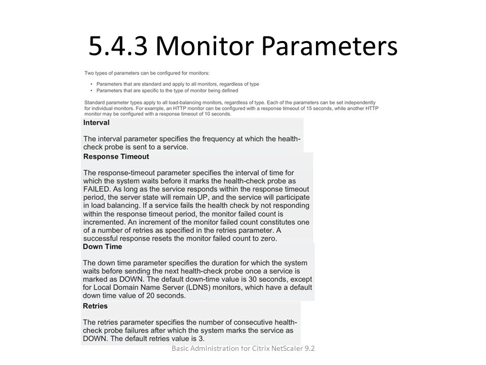 5.4.3 Monitor Parameters Basic Administration for Citrix NetScaler 9.2