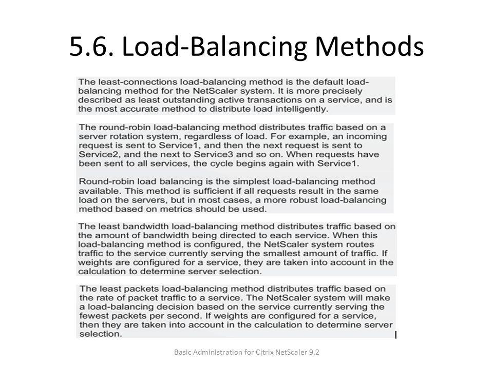 5.6. Load-Balancing Methods Basic Administration for Citrix NetScaler 9.2