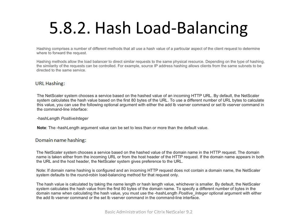 5.8.2. Hash Load-Balancing Basic Administration for Citrix NetScaler 9.2