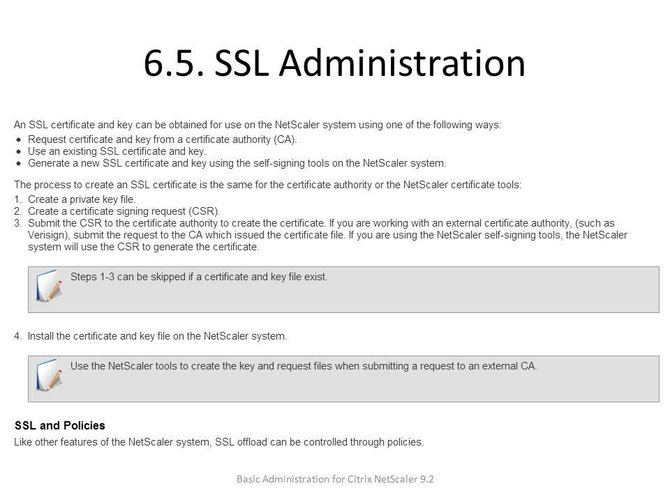 6.5. SSL Administration Basic Administration for Citrix NetScaler 9.2