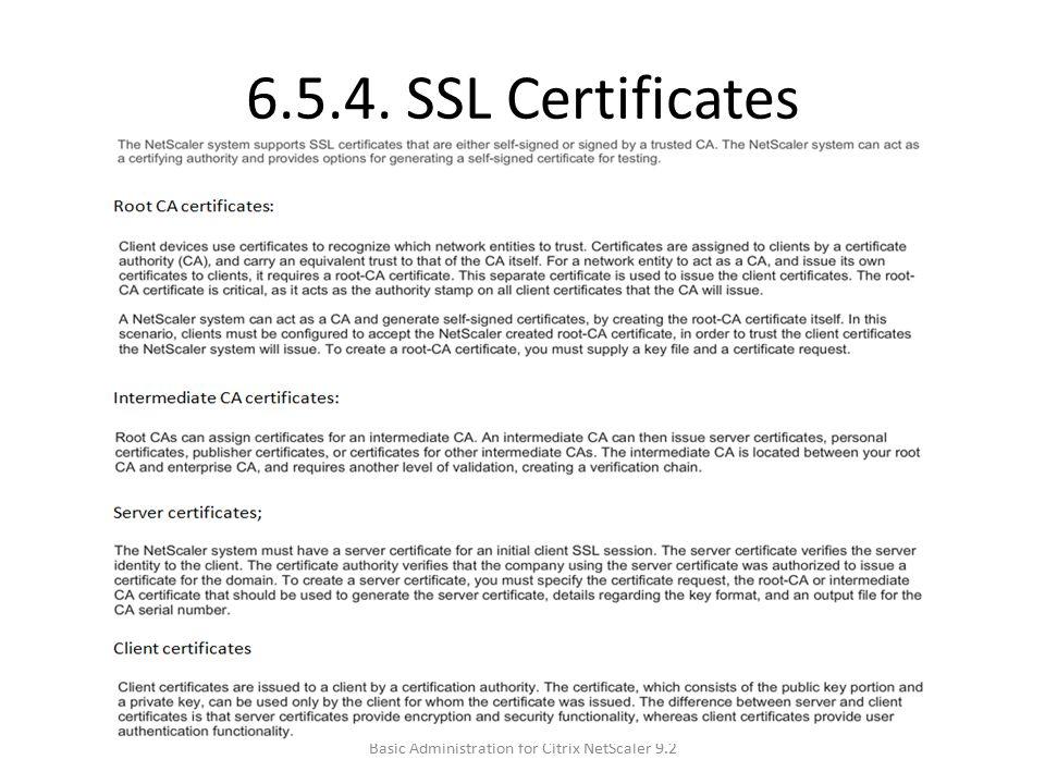 6.5.4. SSL Certificates Basic Administration for Citrix NetScaler 9.2