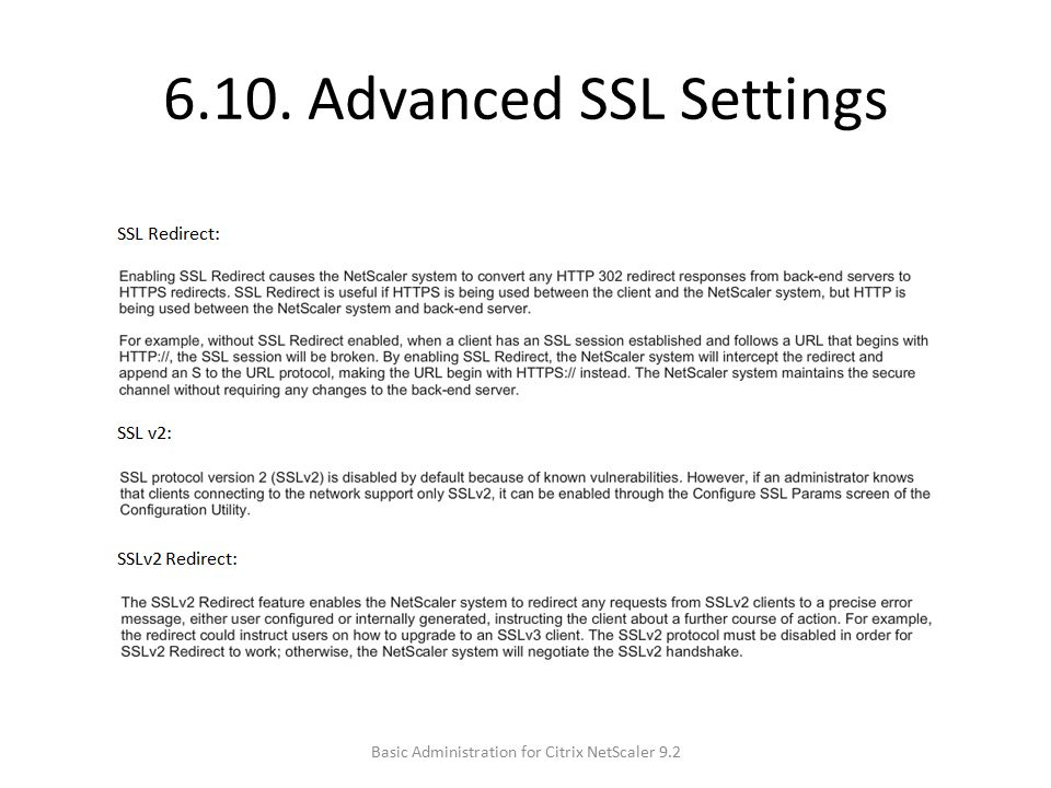 6.10. Advanced SSL Settings Basic Administration for Citrix NetScaler 9.2