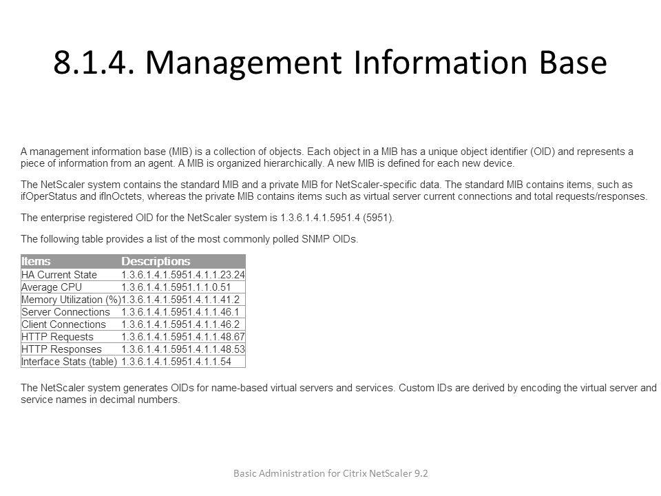 8.1.4. Management Information Base Basic Administration for Citrix NetScaler 9.2