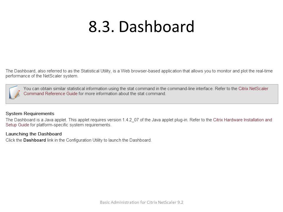 8.3. Dashboard Basic Administration for Citrix NetScaler 9.2