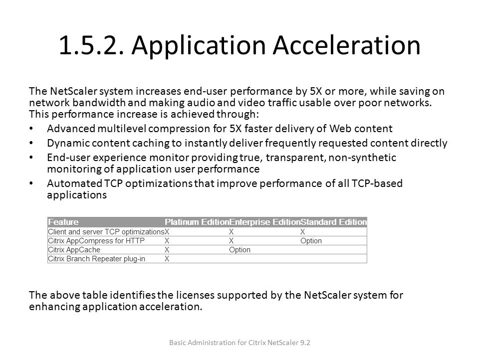 1.5.2. Application Acceleration The NetScaler system increases end-user performance by 5X or more, while saving on network bandwidth and making audio