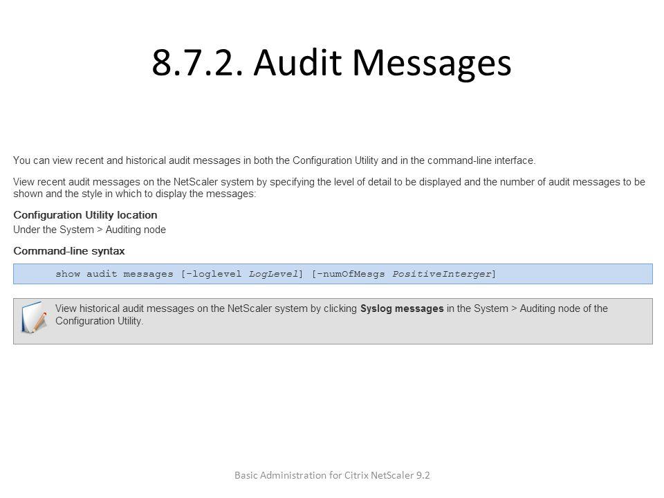 8.7.2. Audit Messages Basic Administration for Citrix NetScaler 9.2