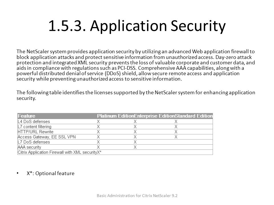1.5.3. Application Security The NetScaler system provides application security by utilizing an advanced Web application firewall to block application