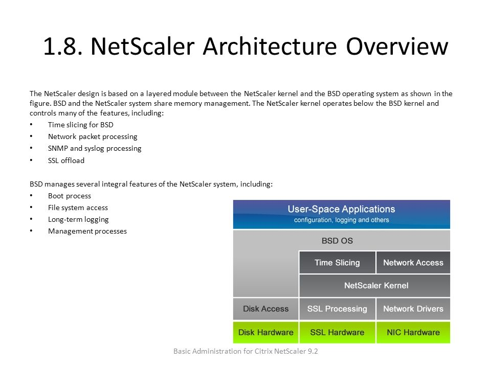 1.8. NetScaler Architecture Overview The NetScaler design is based on a layered module between the NetScaler kernel and the BSD operating system as sh