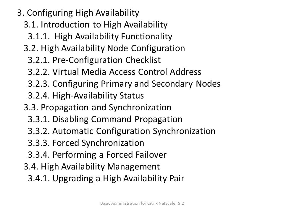 3.Configuring High Availability 3.1. Introduction to High Availability 3.1.1.