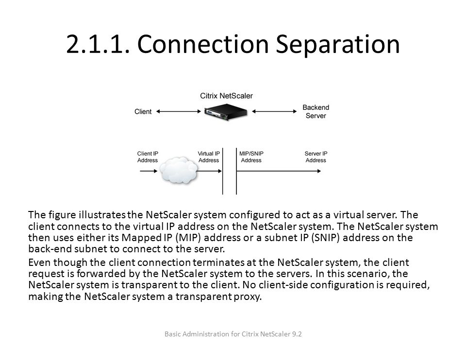 2.1.1. Connection Separation The figure illustrates the NetScaler system configured to act as a virtual server. The client connects to the virtual IP