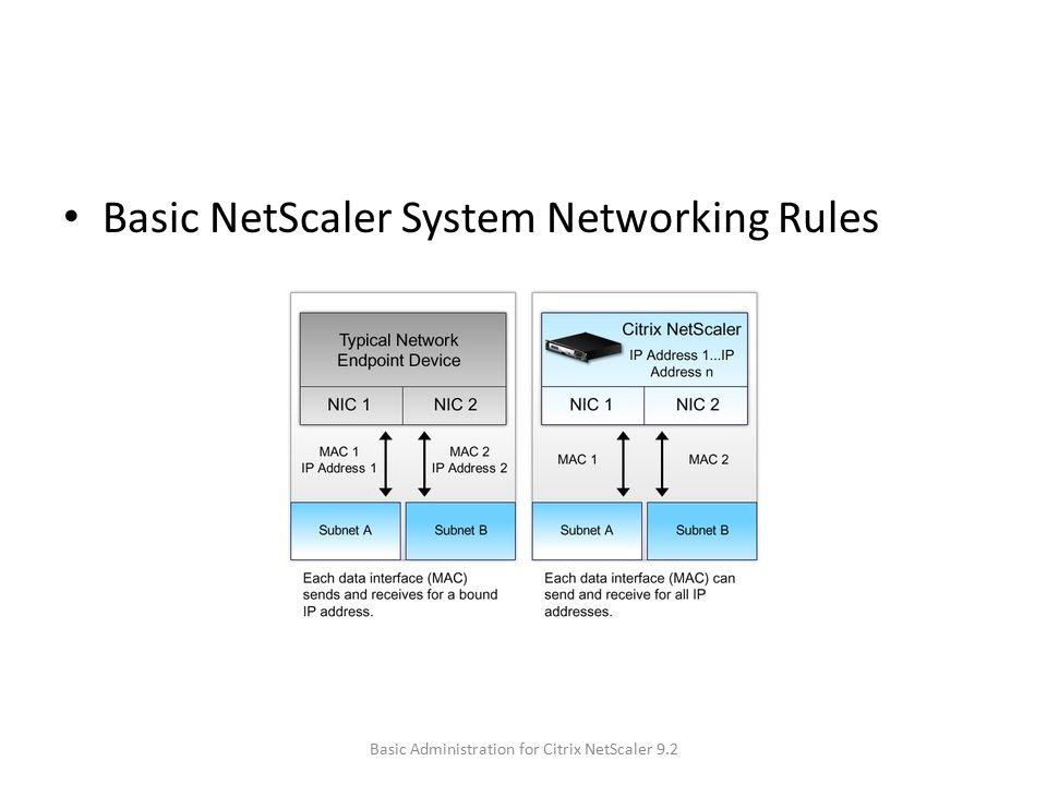 Basic NetScaler System Networking Rules Basic Administration for Citrix NetScaler 9.2