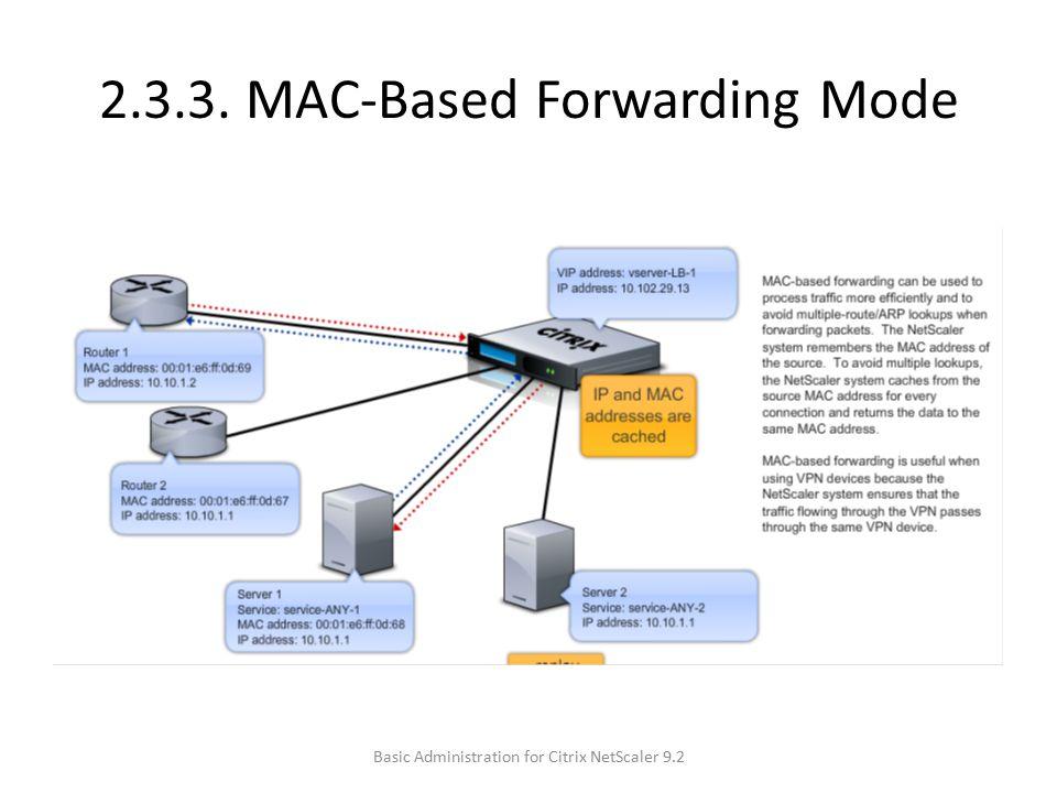 2.3.3. MAC-Based Forwarding Mode Basic Administration for Citrix NetScaler 9.2