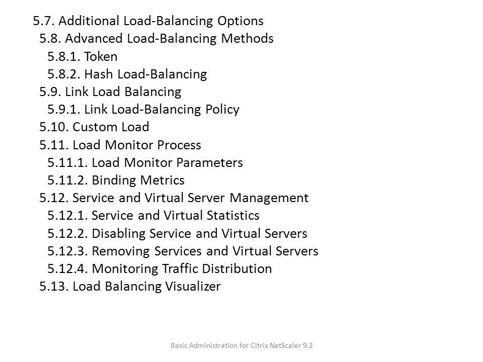 5.7. Additional Load-Balancing Options 5.8. Advanced Load-Balancing Methods 5.8.1. Token 5.8.2. Hash Load-Balancing 5.9. Link Load Balancing 5.9.1. Li