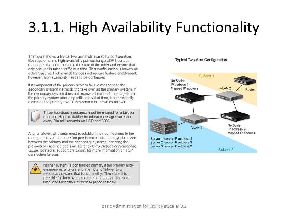 3.1.1. High Availability Functionality Basic Administration for Citrix NetScaler 9.2