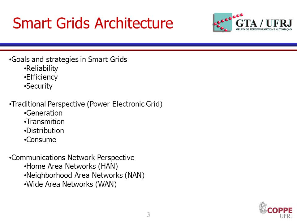 3 Smart Grids Architecture Goals and strategies in Smart Grids Reliability Efficiency Security Traditional Perspective (Power Electronic Grid) Generation Transmition Distribution Consume Communications Network Perspective Home Area Networks (HAN) Neighborhood Area Networks (NAN) Wide Area Networks (WAN)