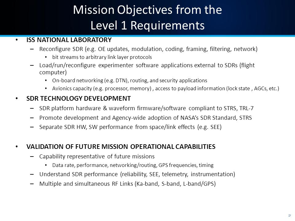 Mission Objectives from the Level 1 Requirements ISS NATIONAL LABORATORY – Reconfigure SDR (e.g.