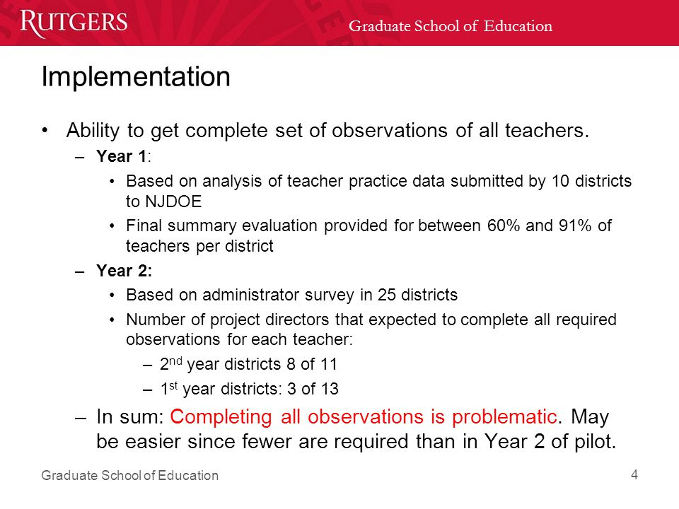 Graduate School of Education Implementation Ability to get complete set of observations of all teachers.