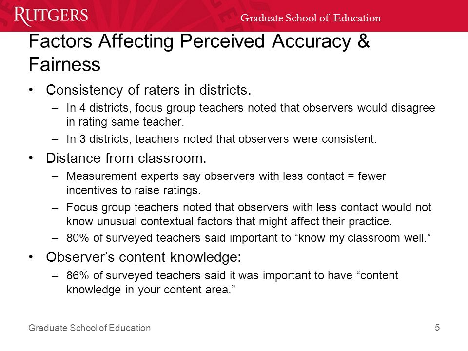Graduate School of Education Factors Affecting Perceived Accuracy & Fairness Consistency of raters in districts.