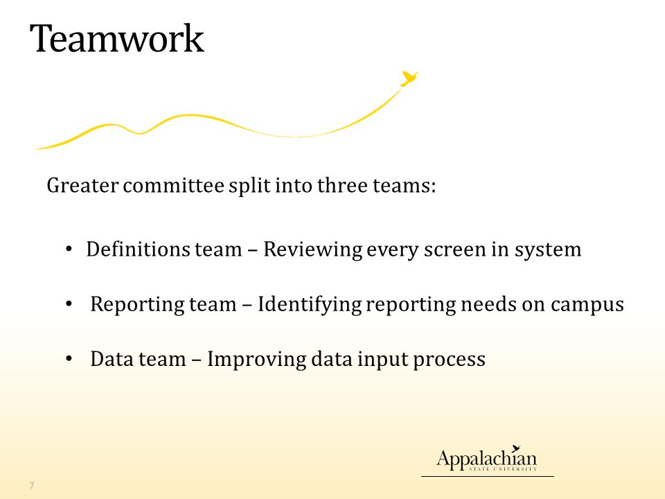 Teamwork 7 Greater committee split into three teams: Definitions team – Reviewing every screen in system Reporting team – Identifying reporting needs on campus Data team – Improving data input process