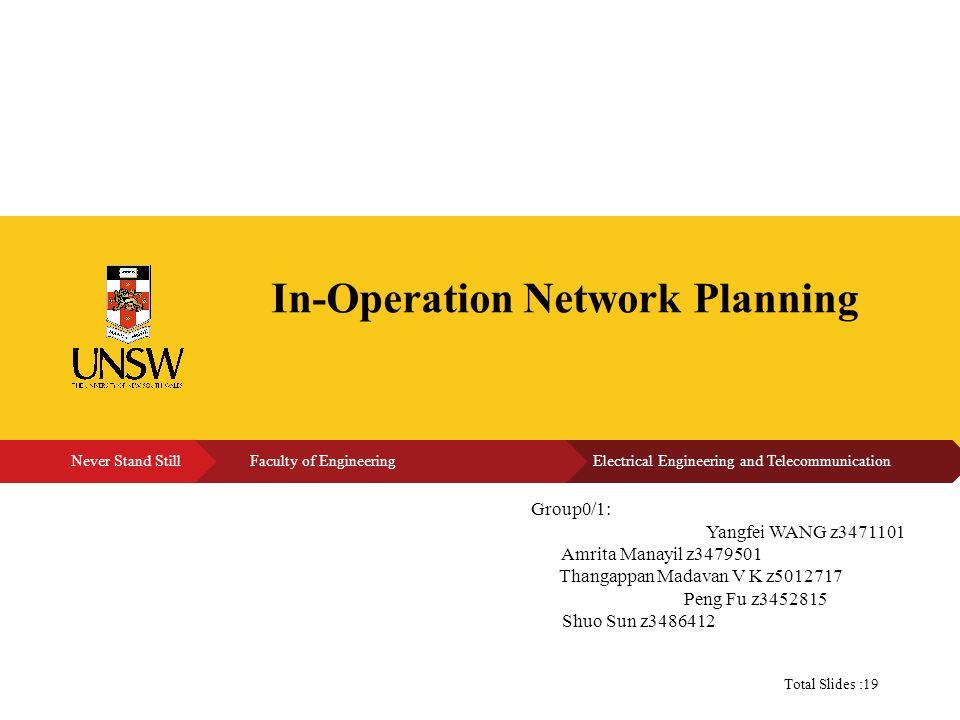 N Group0/1: Yangfei WANG z3471101 Amrita Manayil z3479501 Thangappan Madavan V K z5012717 Peng Fu z3452815 Shuo Sun z3486412 Total Slides :19 In-Operation Network Planning
