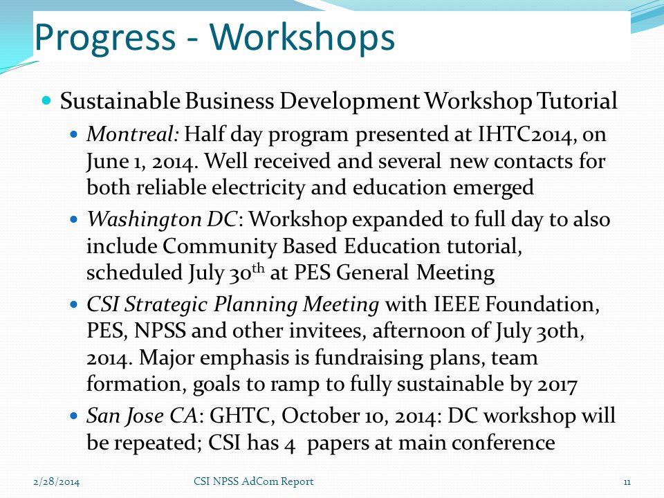 Progress - Workshops Sustainable Business Development Workshop Tutorial Montreal: Half day program presented at IHTC2014, on June 1, 2014. Well receiv