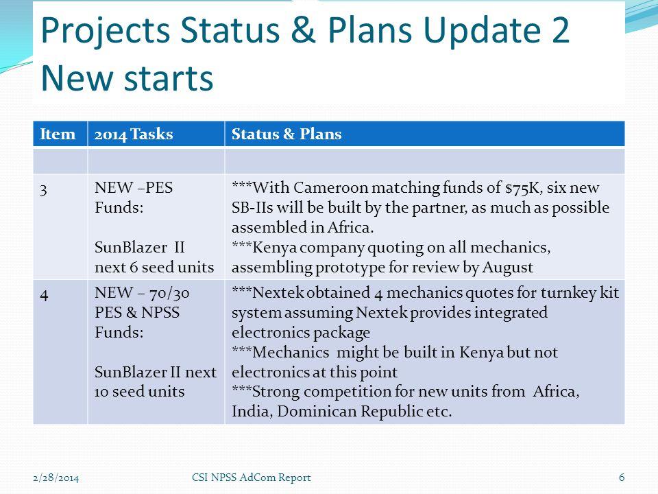 2/28/2014CSI NPSS AdCom Report6 Projects Status & Plans Update 2 New starts Item2014 TasksStatus & Plans 3NEW –PES Funds: SunBlazer II next 6 seed uni