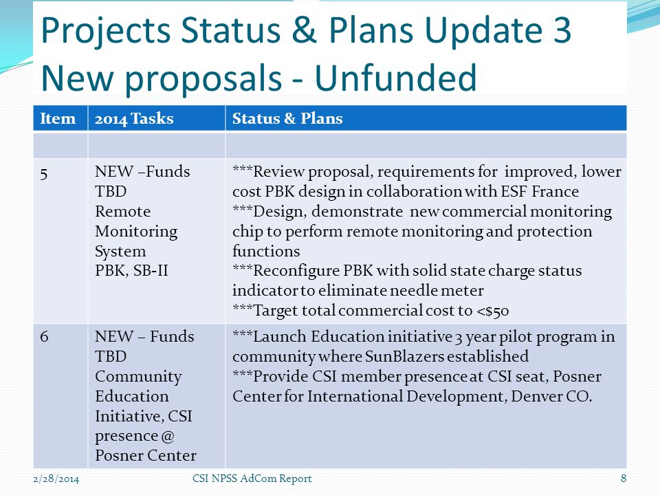 2/28/2014CSI NPSS AdCom Report8 Item2014 TasksStatus & Plans 5NEW –Funds TBD Remote Monitoring System PBK, SB-II ***Review proposal, requirements for improved, lower cost PBK design in collaboration with ESF France ***Design, demonstrate new commercial monitoring chip to perform remote monitoring and protection functions ***Reconfigure PBK with solid state charge status indicator to eliminate needle meter ***Target total commercial cost to <$50 6NEW – Funds TBD Community Education Initiative, CSI presence @ Posner Center ***Launch Education initiative 3 year pilot program in community where SunBlazers established ***Provide CSI member presence at CSI seat, Posner Center for International Development, Denver CO.