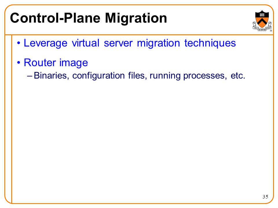 Leverage virtual server migration techniques Router image –Binaries, configuration files, running processes, etc.