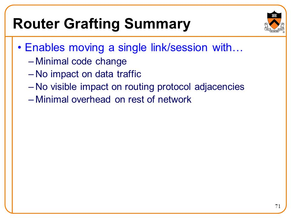 Router Grafting Summary Enables moving a single link/session with… –Minimal code change –No impact on data traffic –No visible impact on routing protocol adjacencies –Minimal overhead on rest of network 71