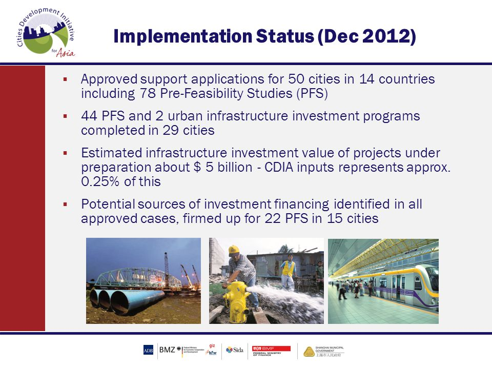 Implementation Status (Dec 2012)  Approved support applications for 50 cities in 14 countries including 78 Pre-Feasibility Studies (PFS)  44 PFS and 2 urban infrastructure investment programs completed in 29 cities  Estimated infrastructure investment value of projects under preparation about $ 5 billion - CDIA inputs represents approx.