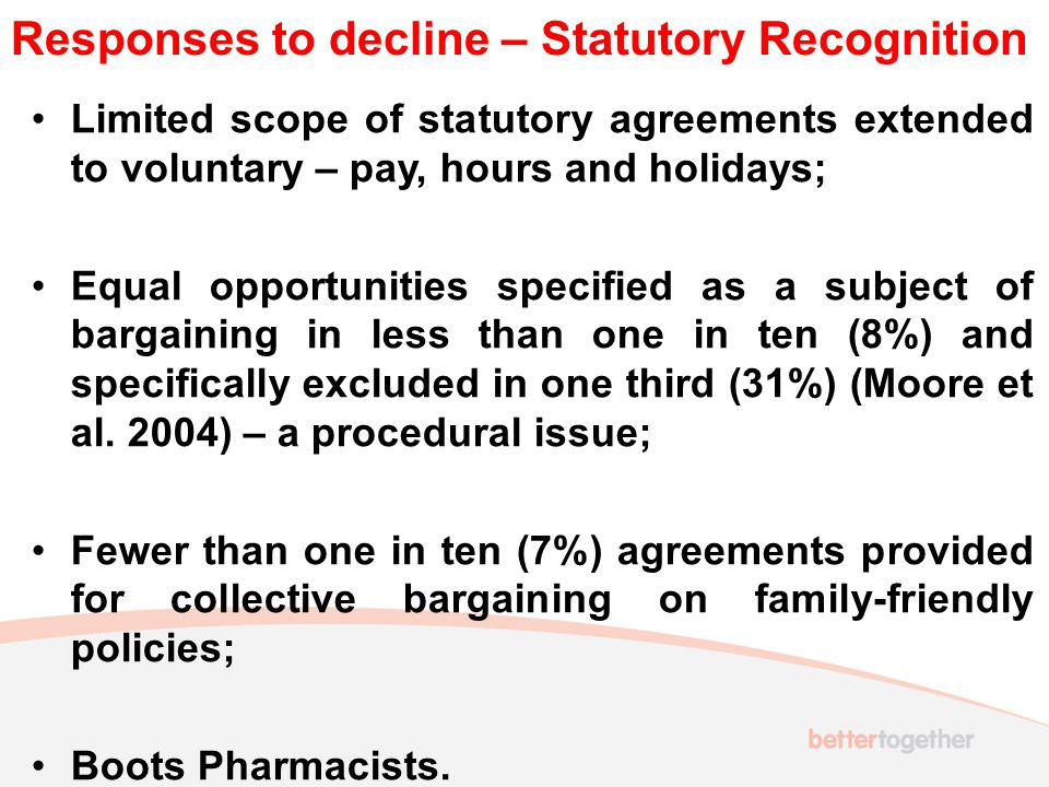 Responses to decline – Statutory Recognition Limited scope of statutory agreements extended to voluntary – pay, hours and holidays; Equal opportunities specified as a subject of bargaining in less than one in ten (8%) and specifically excluded in one third (31%) (Moore et al.