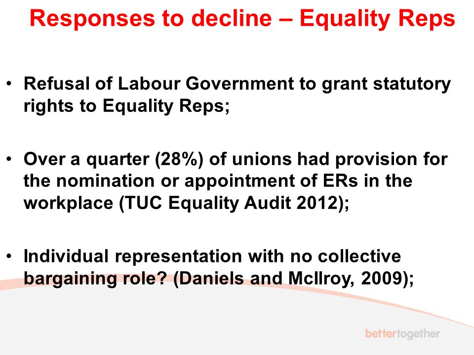 Responses to decline – Equality Reps Refusal of Labour Government to grant statutory rights to Equality Reps; Over a quarter (28%) of unions had provision for the nomination or appointment of ERs in the workplace (TUC Equality Audit 2012); Individual representation with no collective bargaining role.
