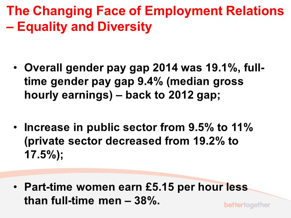 The Changing Face of Employment Relations – Equality and Diversity Overall gender pay gap 2014 was 19.1%, full- time gender pay gap 9.4% (median gross
