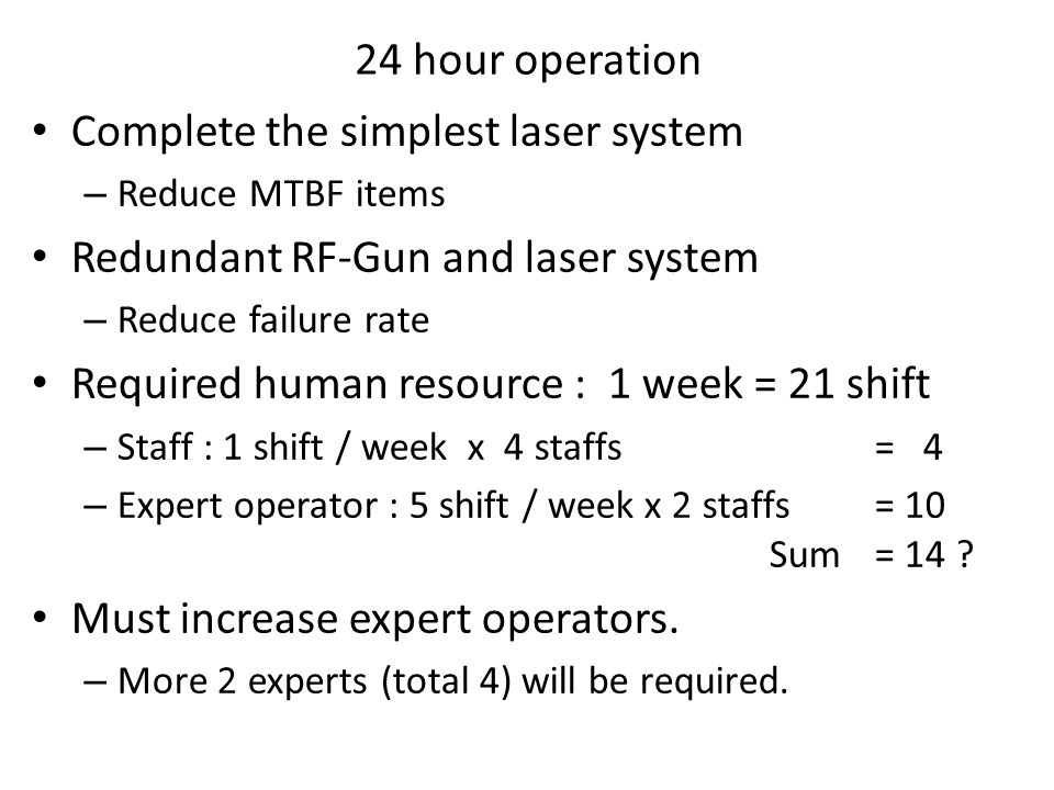 Considerable faults of RF-Gun Cavity discharge Cathode degradation Laser window damage MTTR = 7 days ?