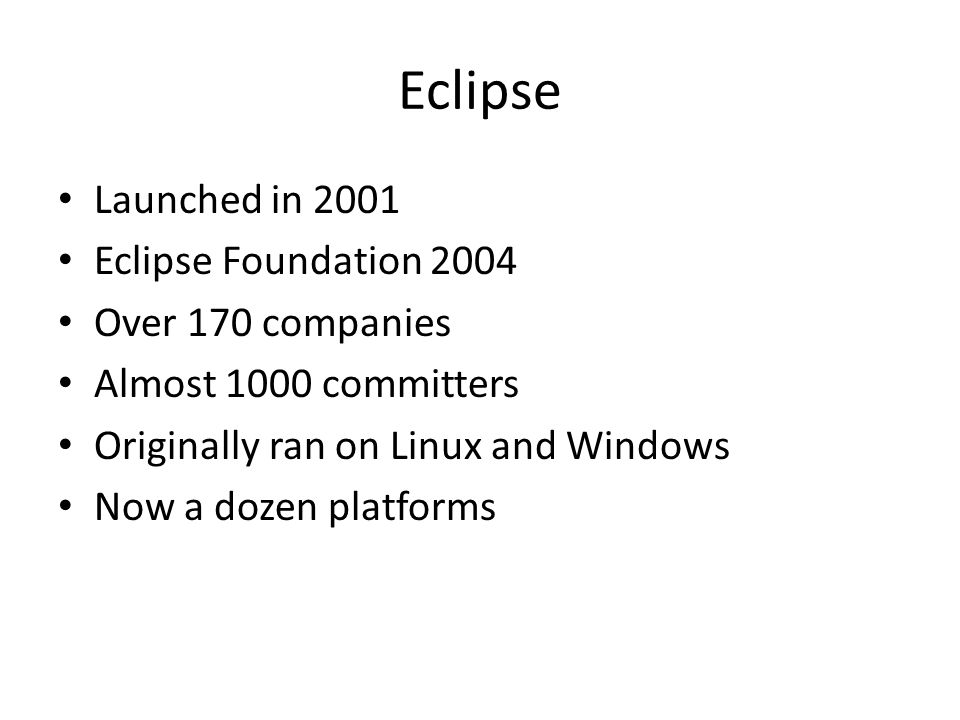 Eclipse 4 Separation of model from generation of the view Eclipse 4.0 uses dependency injection to provide services to clients.
