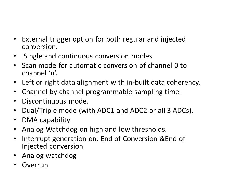Dual Simultaneous Mode The dual regular simultaneous ADC mode is used to perform two conversions simultaneously owing to the synchronization of ADC1 and ADC2.
