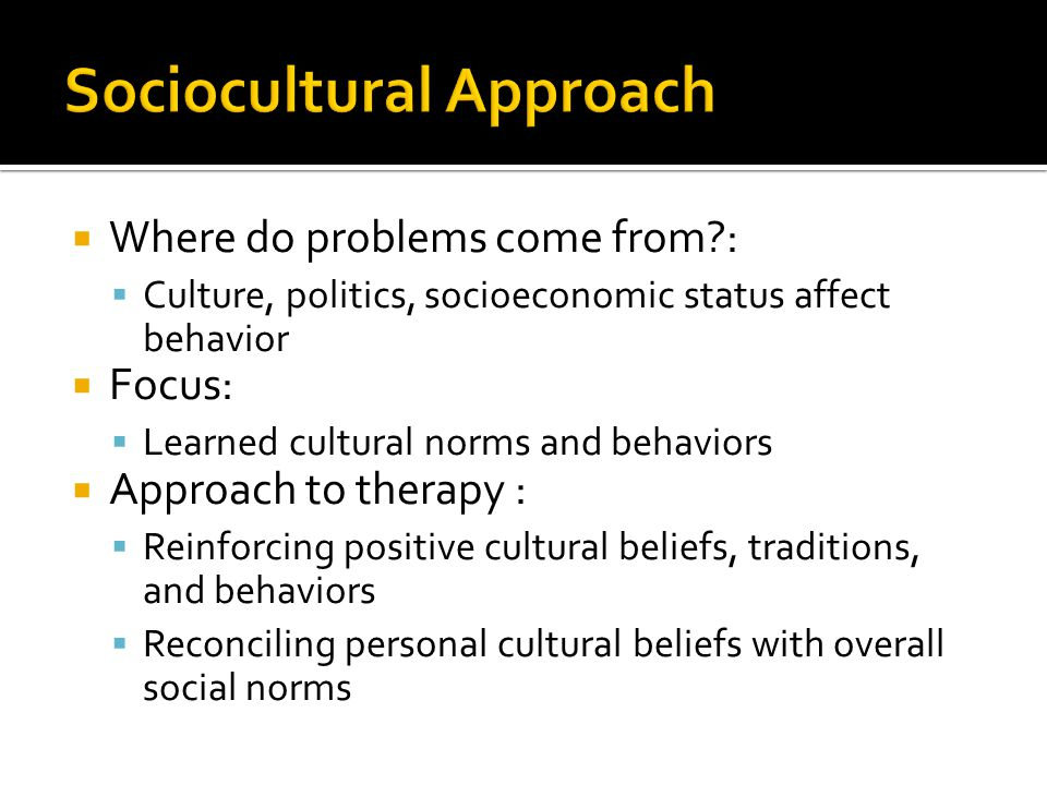  Where do problems come from?:  Culture, politics, socioeconomic status affect behavior  Focus:  Learned cultural norms and behaviors  Approach t