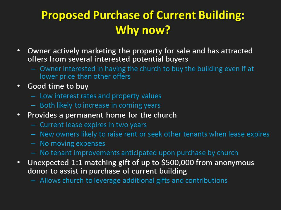 Proposed Purchase of Current Building: Why now.