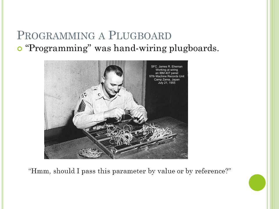 "P ROGRAMMING A P LUGBOARD ""Hmm, should I pass this parameter by value or by reference?"" ""Programming"" was hand-wiring plugboards."