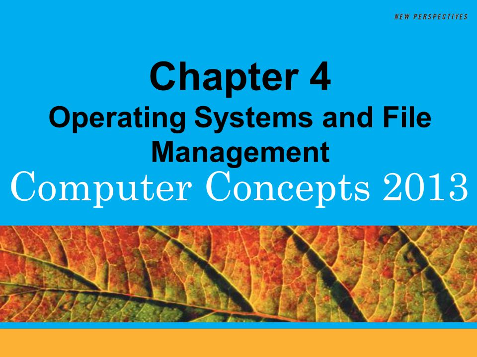 Computer Concepts 2013 Chapter 4 Operating Systems and File Management