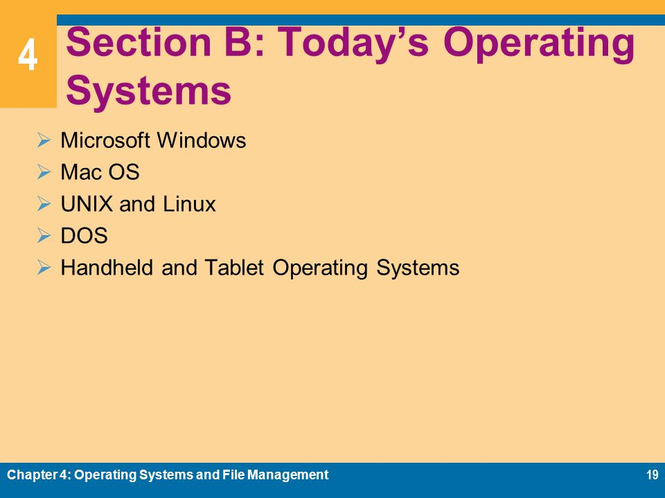 4 Section B: Today's Operating Systems  Microsoft Windows  Mac OS  UNIX and Linux  DOS  Handheld and Tablet Operating Systems Chapter 4: Operating Systems and File Management19