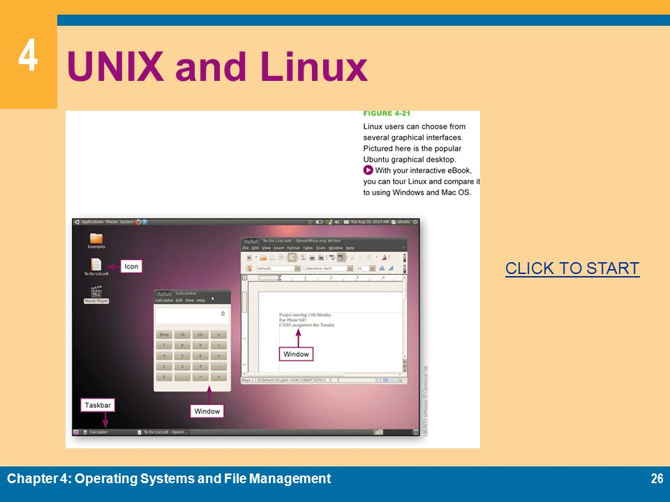 4 UNIX and Linux Chapter 4: Operating Systems and File Management26 CLICK TO START