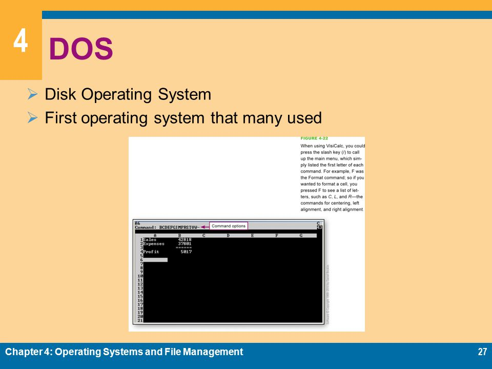 4 DOS  Disk Operating System  First operating system that many used Chapter 4: Operating Systems and File Management27